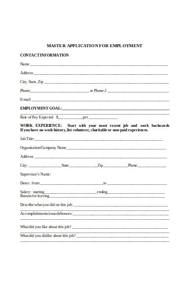 master employment application form