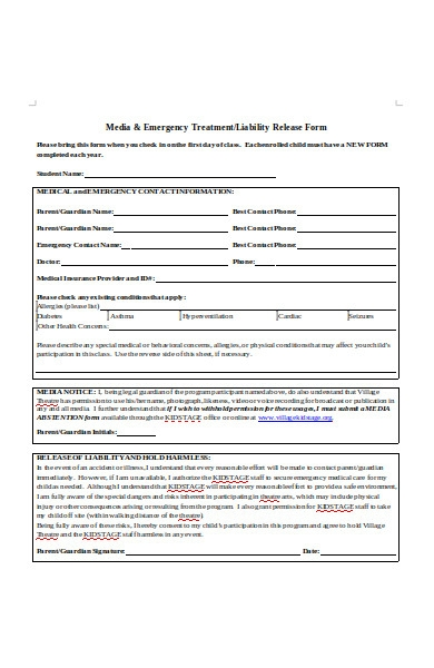 media liability release form