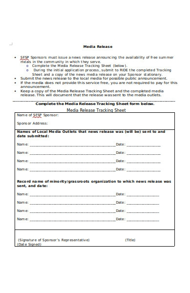 media release tracking sheet form