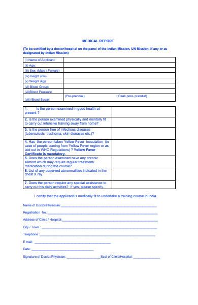 medical report application form