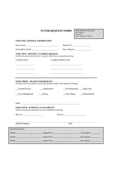 medicine tutor request form