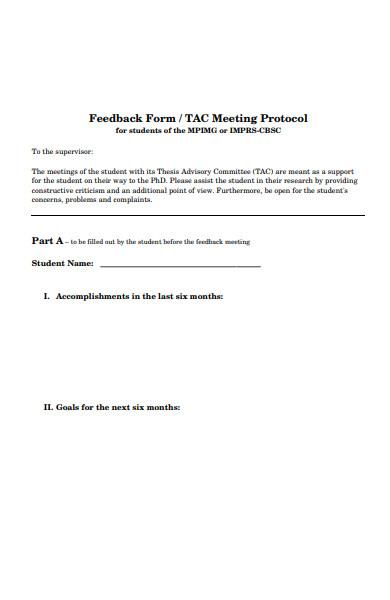 meeting protocol feedback form