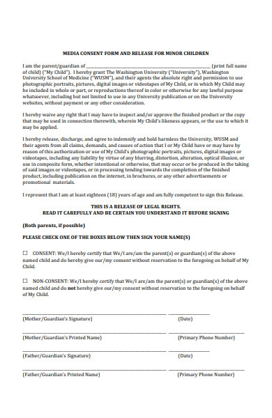 minor children media release form