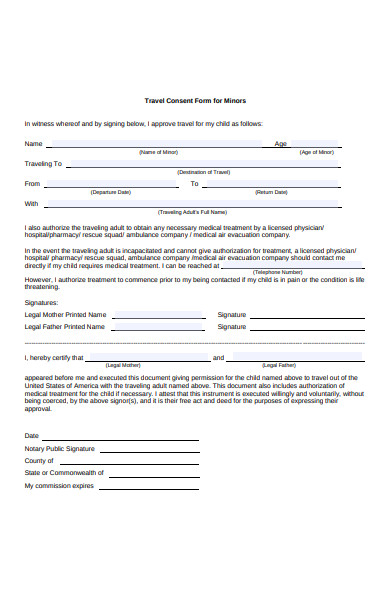minors travel consent form