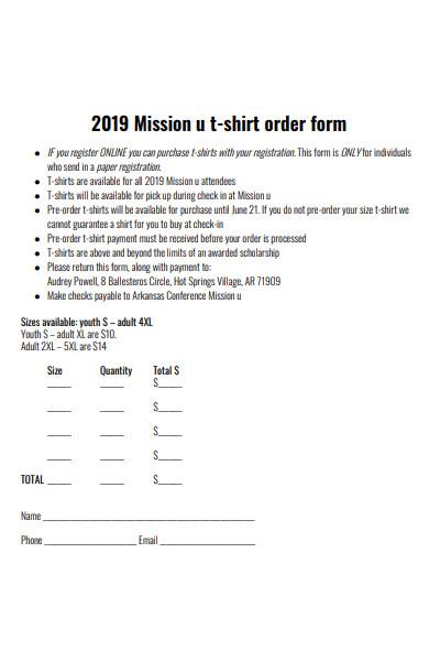 mission t shirt order form