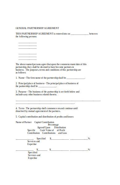 model partnership agreement form
