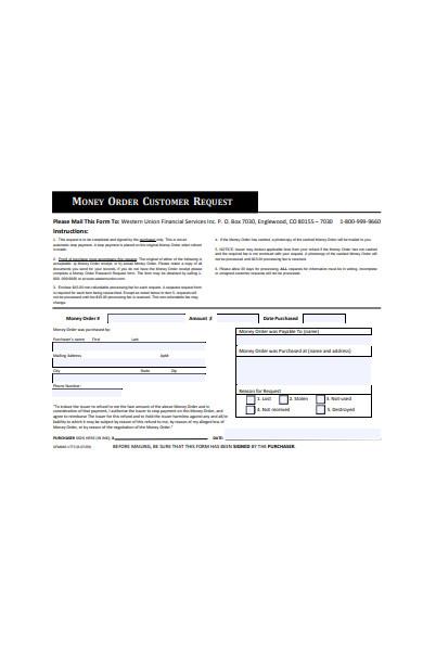 money order customer information form