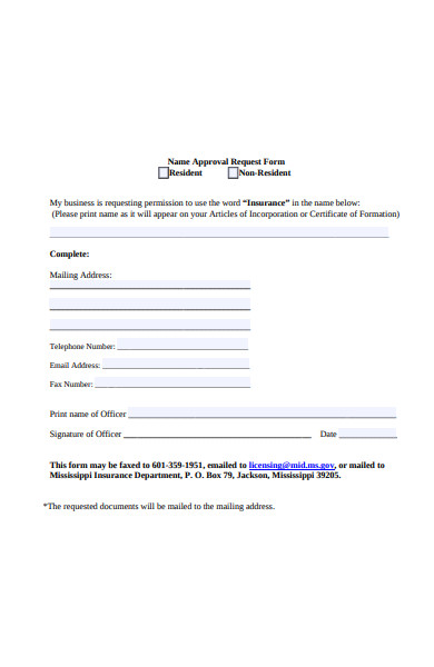 name approval request form
