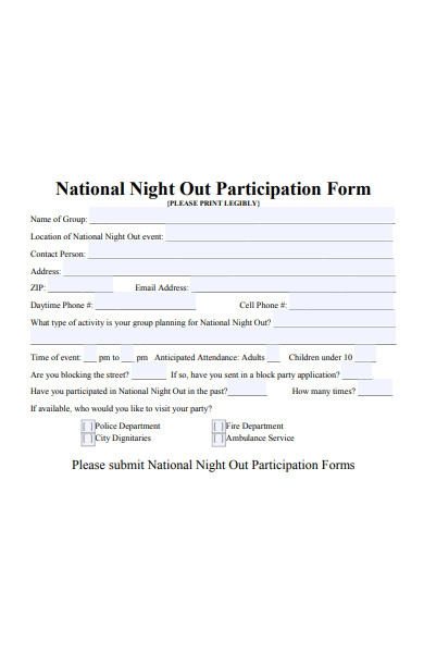 national night out participation form