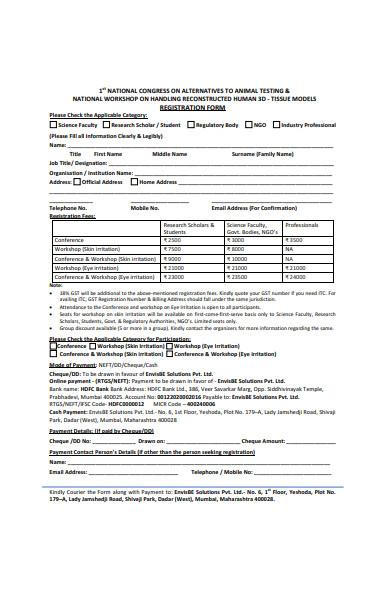 national workshop registration form