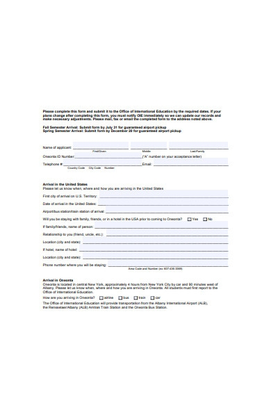 new student arrival form