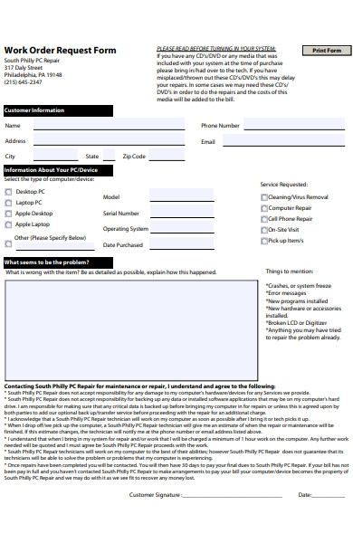 new work order form