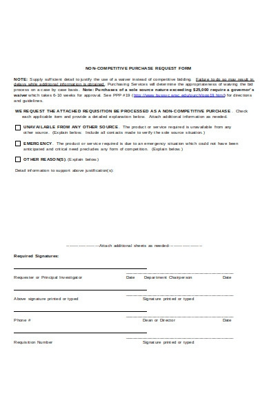 non competitive purchase form