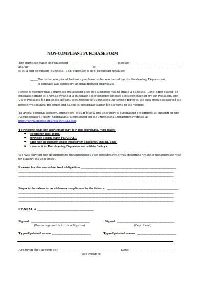 non complaint purchase form
