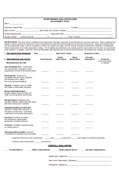 non exempt staff performance evaluation form