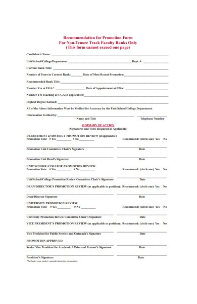 non tenure promotion form