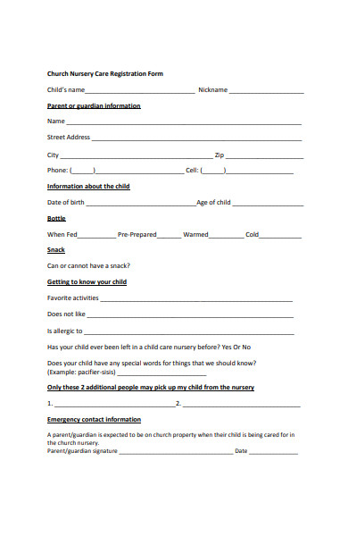 nursery childcare registration form