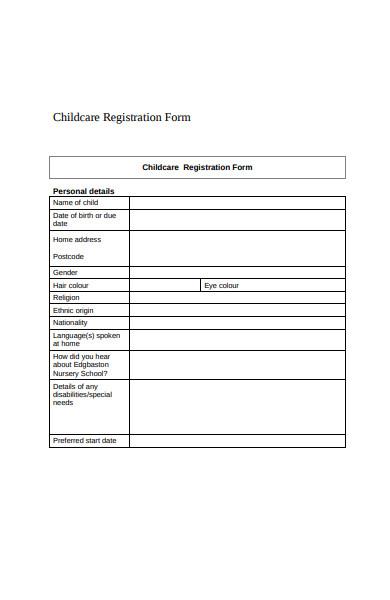 nursery school childcare registration form