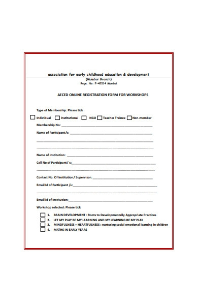 online registration form for workshop