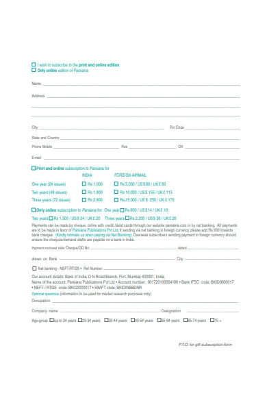 online subscription form