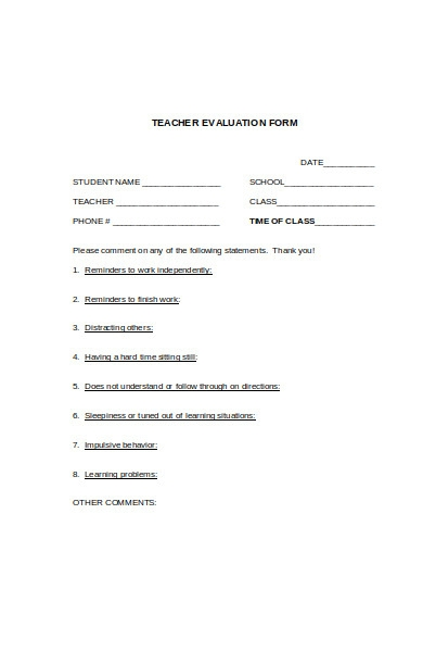online teacher evaluation form