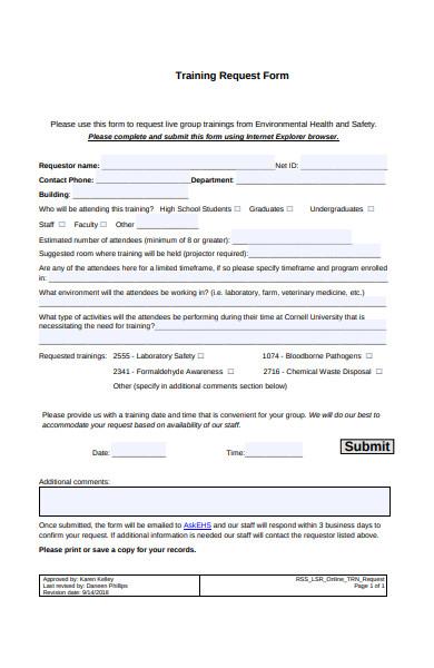 online training request form