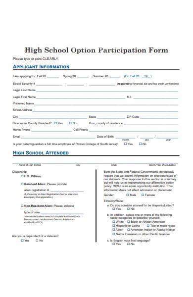 option participation form