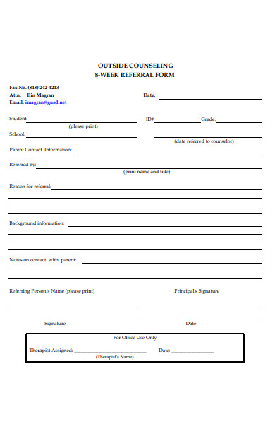out side counseling referral form