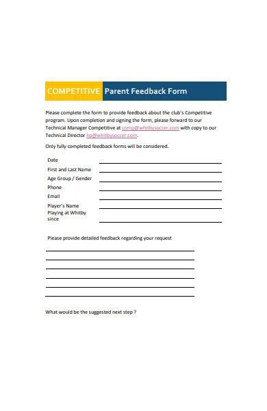 parent feedback form format
