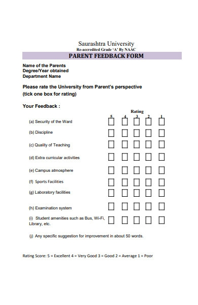 parent feedback form to university