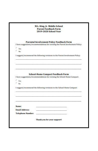 parental involvement policy feedback form