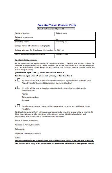 parental travel consent form