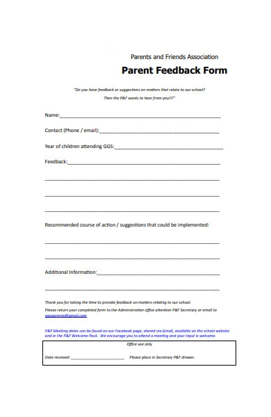parents and friends feedback form