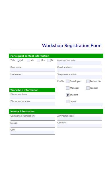participant workshop registration form