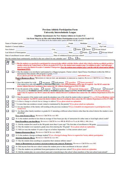 participation level form