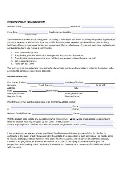 participation permission form