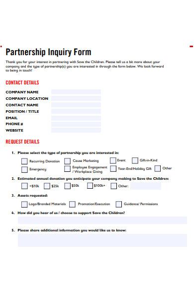 partnership inquiry form