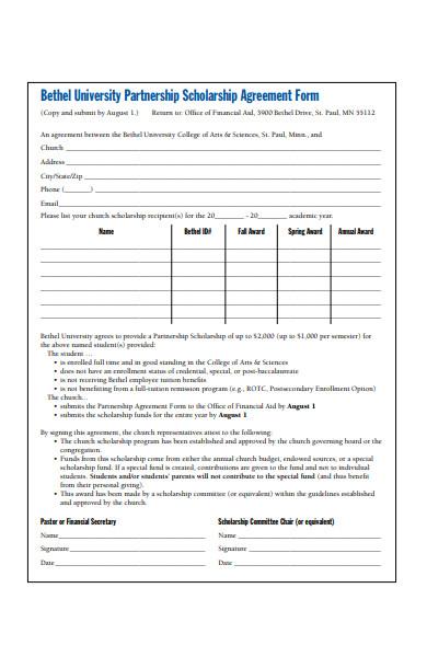 partnership scholarship agreement form