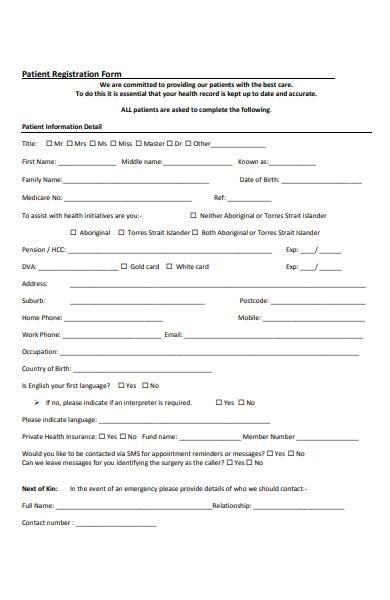 patient medical registration form