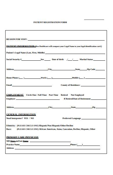 patient pre registration form