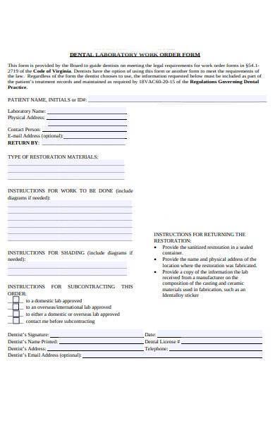 patient work order form
