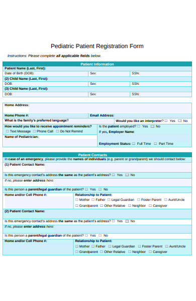 pediatric patient registration form