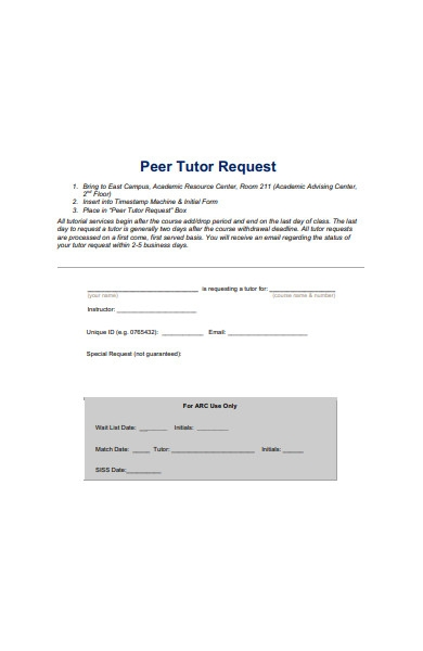 peer tutor request form in pdf