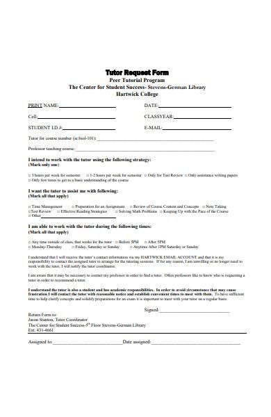 peer tutor request form