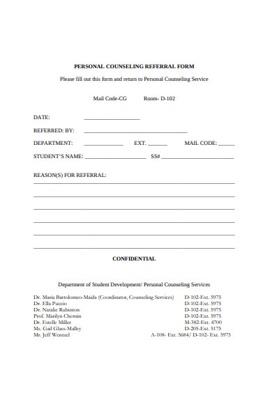 personal counseling referral form