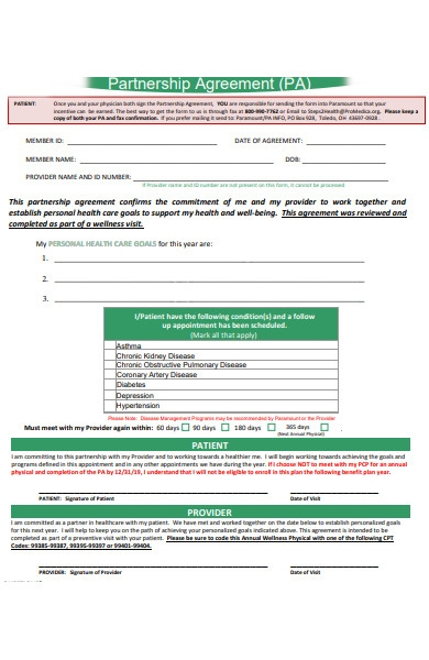 personal partnership agreement form