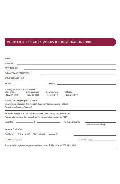 pesticide workshop registration form