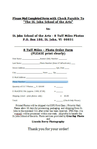 photo order form in ms word