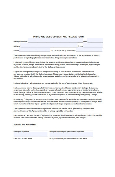 photo and video consent and release form