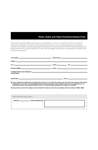 photo and video promotion release form
